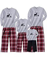Footsteps Clothing Family Matching Christmas Adult Pajamas & Kids Playwear Nordic Reindeer Grey Sillouette