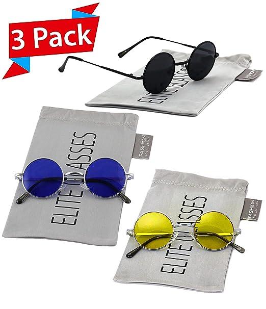 a9b4039a62 John Lennon Hipster Fashion Sunglasses Small Metal Round Circle Elton Style  (3 PACK  Black