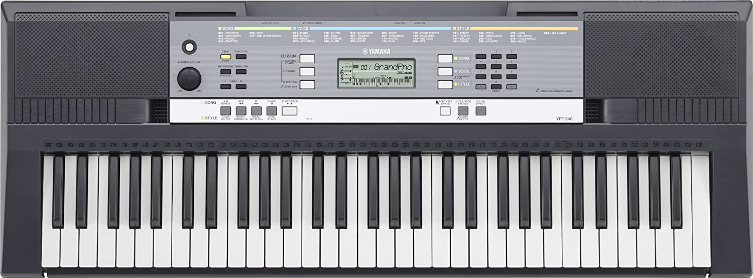 Amazon.com: Yamaha YPT-240 61-Key Keyboard Pack with Headphones, Power  Supply, and Stand: Musical Instruments