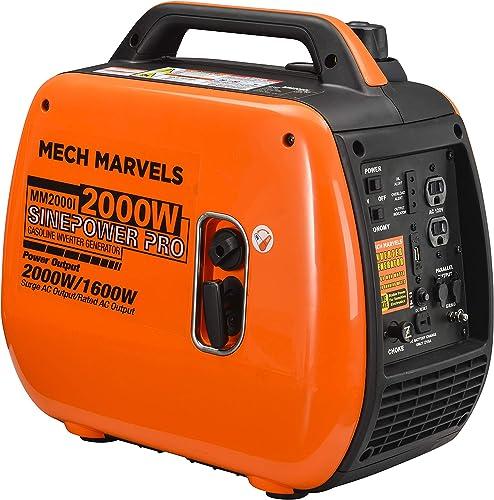 Mech Marvels Super Quiet 2000 Watt Portable Inverter Generator, Carb Compliant, Clean Sine Wave MM2000I