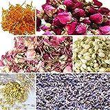 bMAKER Bulk Botanical Flowers Kit, 6 Pack - Edible, Kosher Certified - 1.5 Cups Each of Jasmine, Rosebuds, Lavender, Marigold
