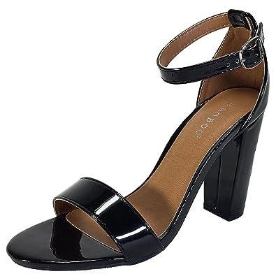 7daa44fee3 BAMBOO Women's Single Band Chunky Heel Sandal with Ankle Strap, Black  Patent PU, 7.0