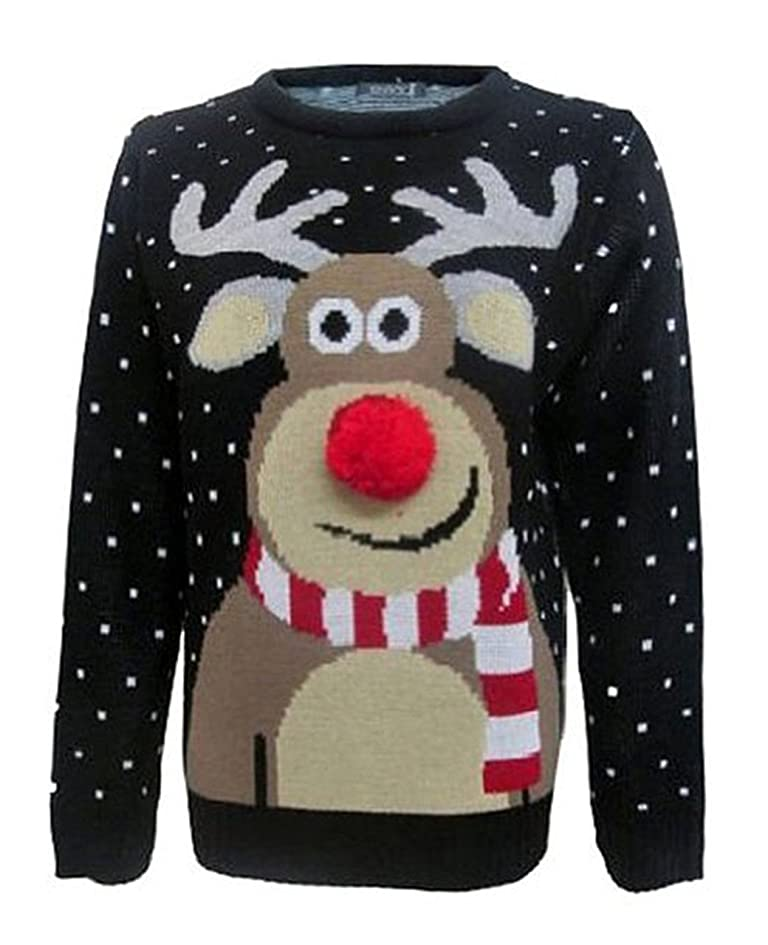Fashion Essentials-womens Unisex Rudolph Print 3d Nose Pom Pom Christmas Jumper (S, BLACK)