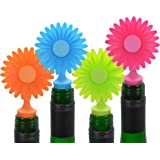 Southern Homewares Flower Bottle Silicone Stoppers, Multicolored, 4-Pack