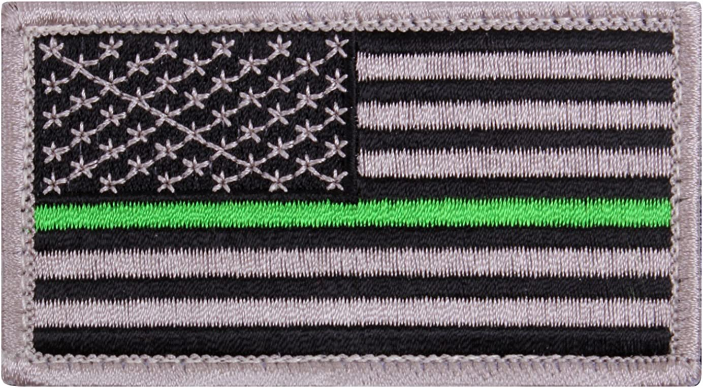 Subdued Tattered American Flag Thin Green Line PVC Patch