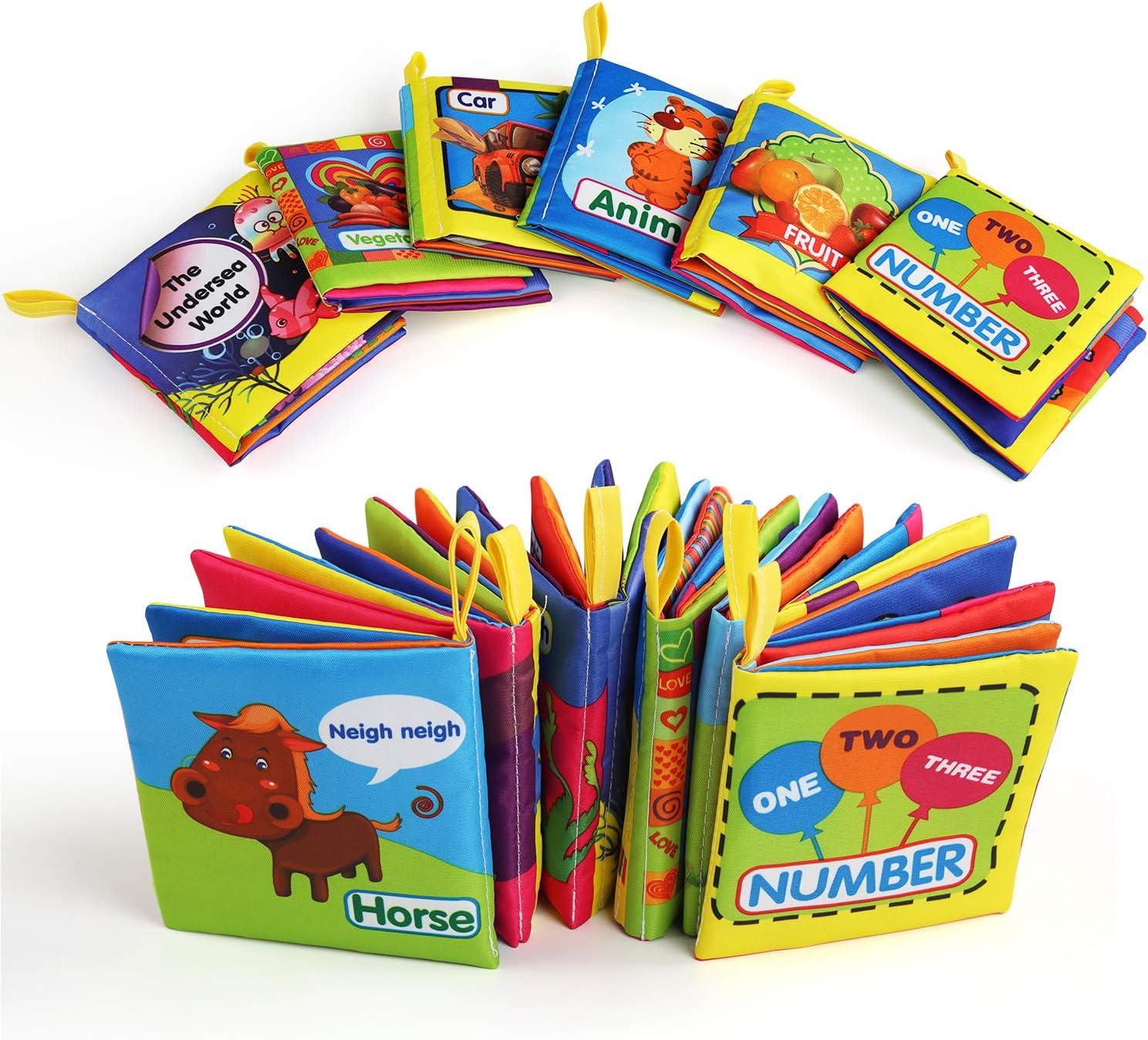 Libro Bebe, BelleStyle Libro Texturas Bebe para Juguetes Bebes 1 Año, Cloth Book, Libro Blando para Baño, Soft Book Educación Temprana y Desarrollo de Juguete, 6 PCS