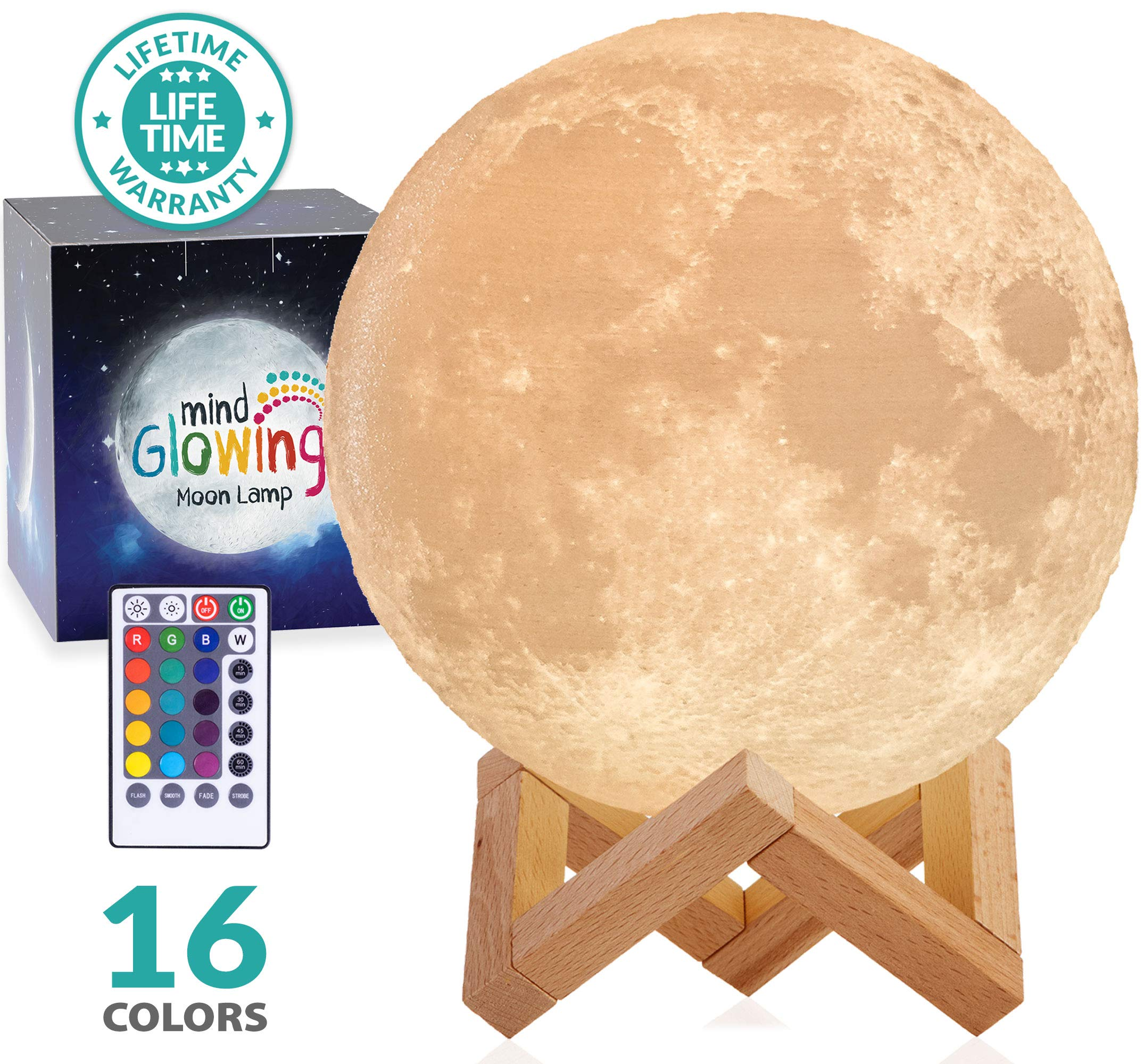 Mind-glowing 3D Moon Lamp - 16 LED Colors, Dimmable, Rechargeable Night Light (X-Large, 7.1in) with Wooden Stand, Remote & Touch Control - Nursery Decor for Your Baby, Birthday Gift Idea for Women by Mind-glowing