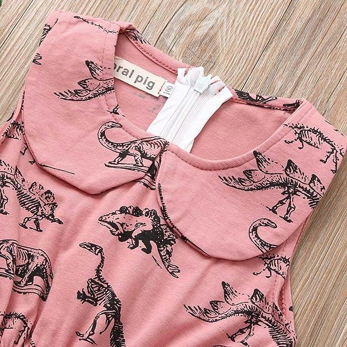 SHOBDW Toddler Infant Baby Sweet Cartoon Dinosaur Print Sleeveless Summer Halloween Party Clothing Outfits Skirt Girls Dresses