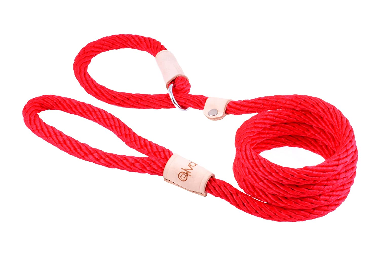 Red Alvalley Red Sport Slip Lead with Leather Stop for Dogs Made of Strong Multifilament Polypropylene Rope (13mm X 183cm or 1 2in X 6ft)