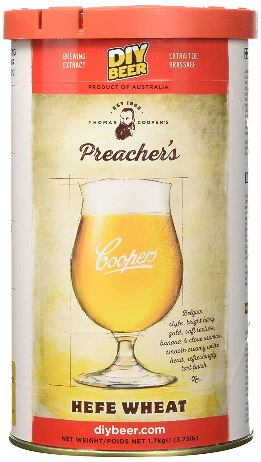 Coopers DIY Beer Thomas Coopers Preacher's Hefe Wheat Homebrewing Craft Beer Brewing Extract 837
