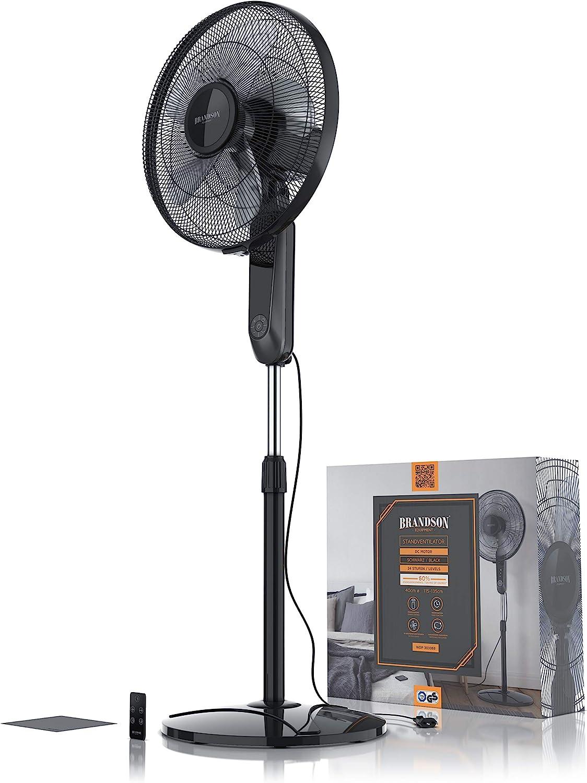 testa inclinabile a 35 gradi silenzioso schermo LED Ventilatore a piantana DC Silent con telecomando altezza regolabile Brandson 2020 oscillazione 80/° 24 velocit/à