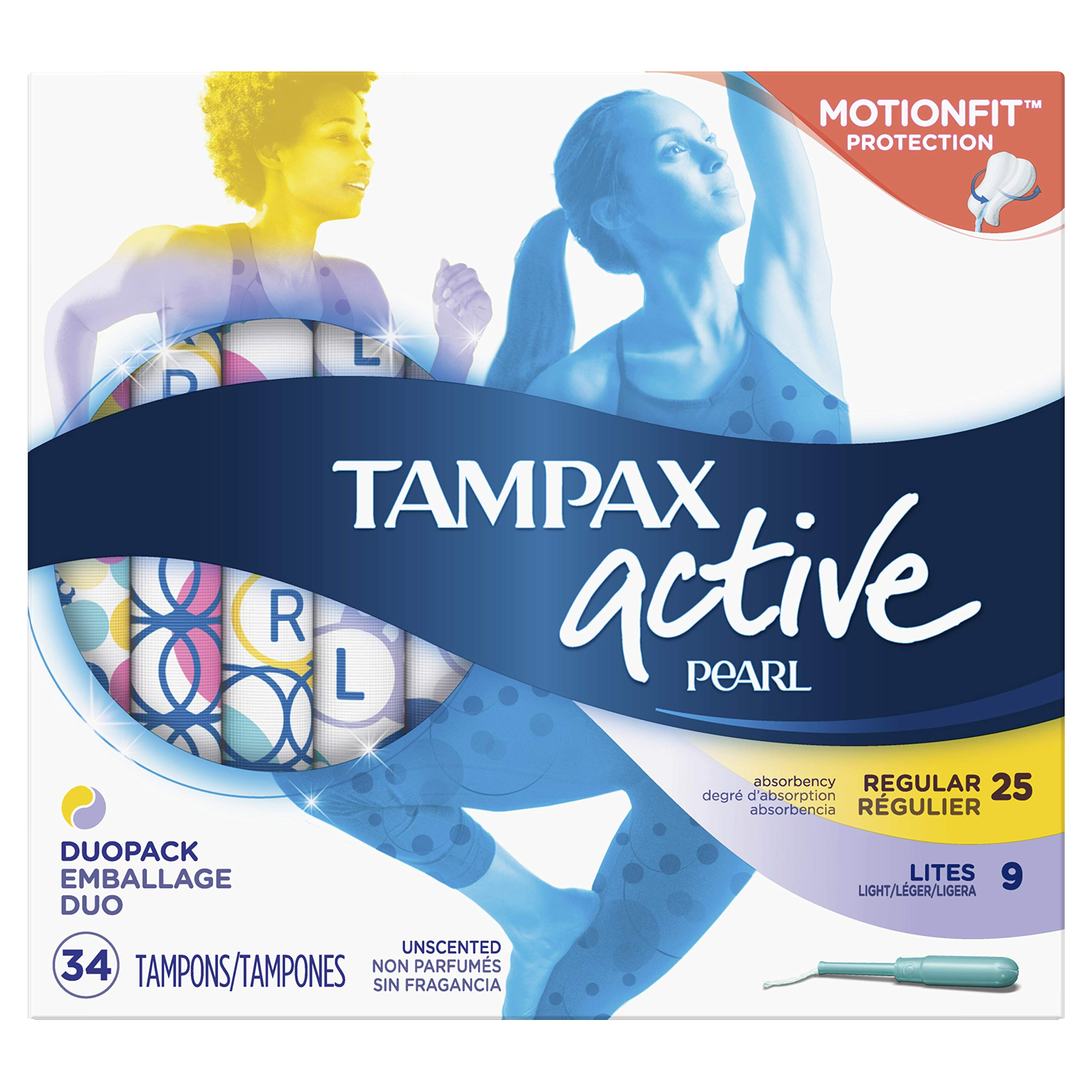 Tampax Pearl Active Plastic Tampons, Light/Regular Absorbency Multipack, Unscented, 34 Count - Pack of 6 (204 Total Count) (Packaging May Vary) by Tampax