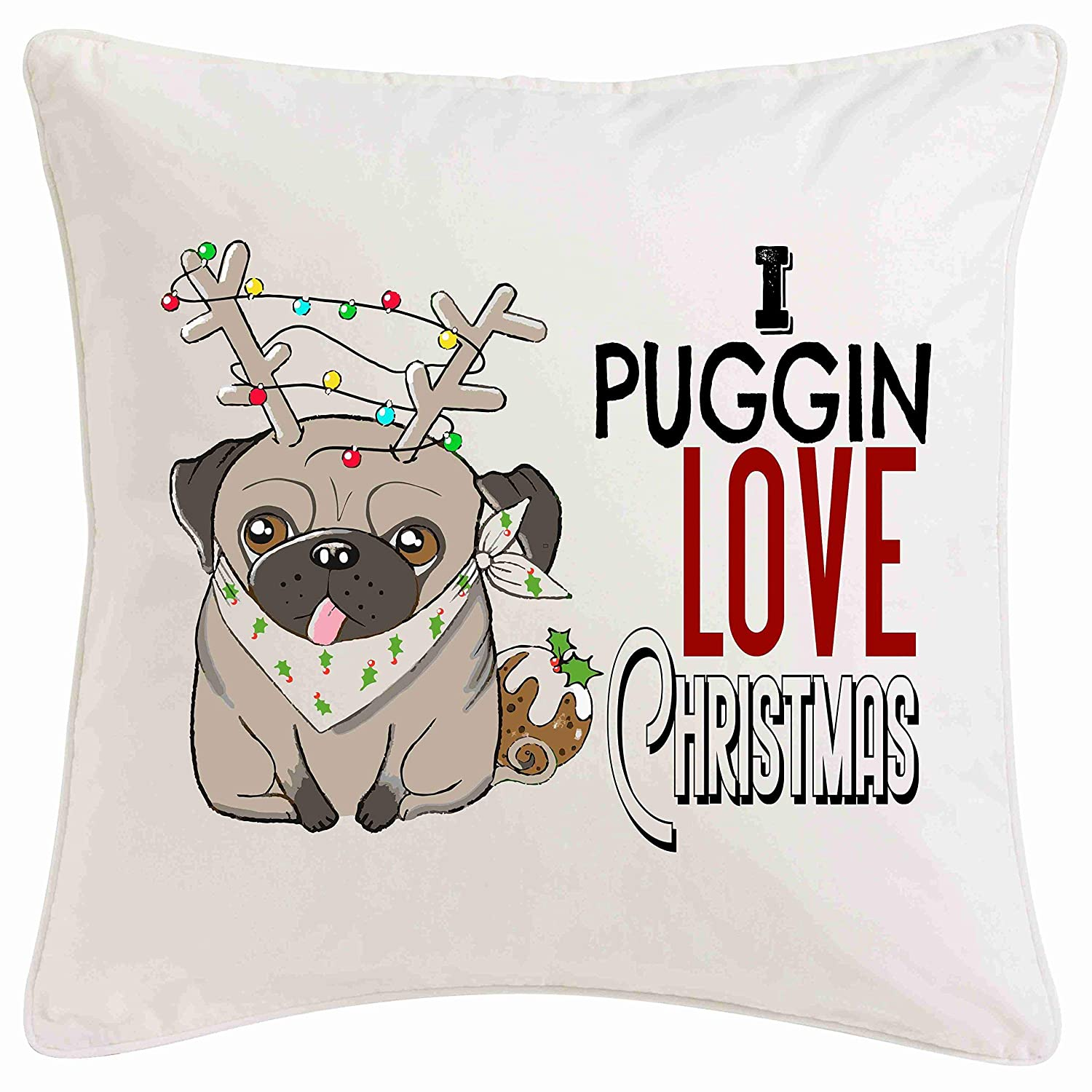 Pug Cushion Christmas Decoration Christmas Present puggin love Noel Ornament Xmas Rustic Homely Warm Red