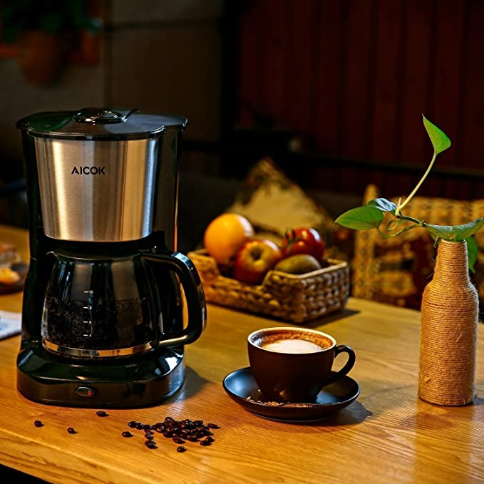 Aicok Cafetera de goteo capacidad de 10 tazas grandes Máquina de café con filtro de vidrio y filtro de malla reutilizable, 1000W, Negro / Acero ...