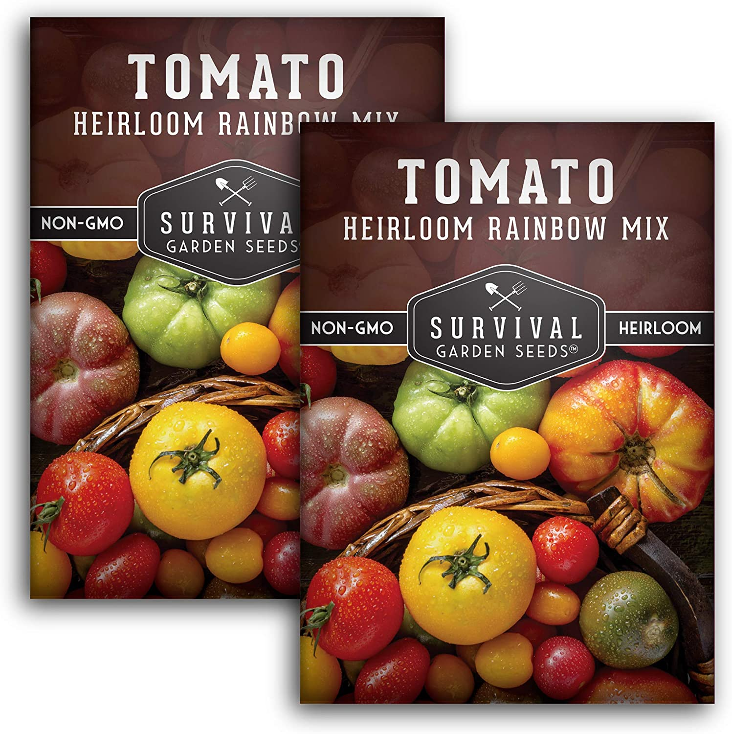 Survival Garden Seeds - Heirloom Rainbow Mix Tomato Seed for Planting - 2 Packets with Instructions to Plant and Grow in Your Home Vegetable Garden - Non-GMO Heirloom Variety