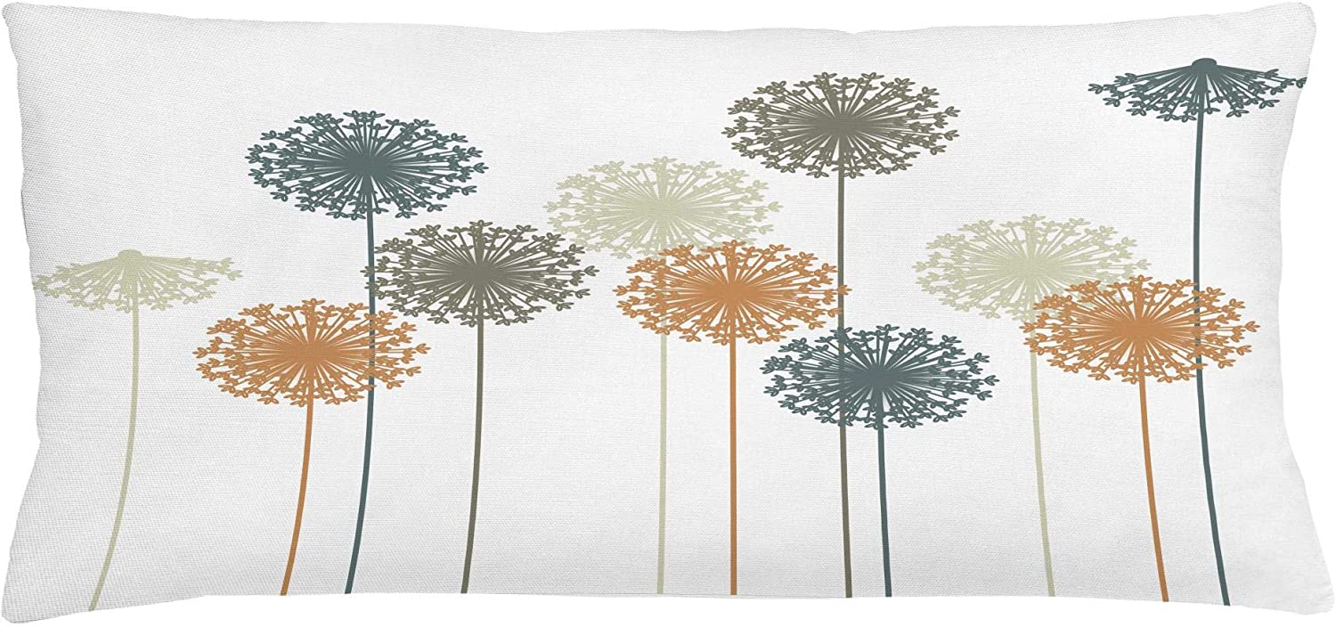 "Ambesonne Dandelion Throw Pillow Cushion Cover, Abstract Wildflower Silhouettes Botanical Inspirations Meadow in Summer Season, Decorative Rectangle Accent Pillow Case, 36"" X 16"", White Mustard"