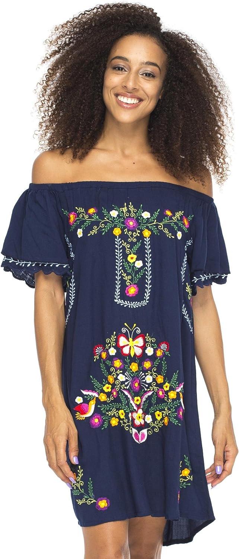 Back From Bali Damen Kurzes Kleid Schulterfrei Stickerei Tunika mexikanischer Stil: Amazon.de: Bekleidung -