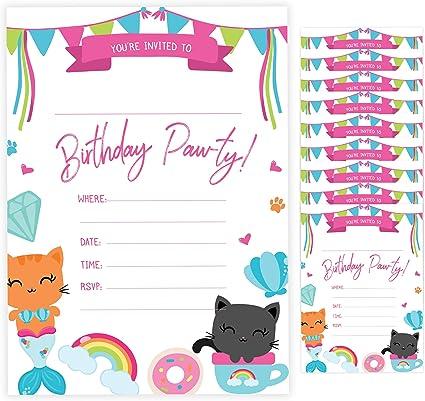 Amazon.com: Tarjetas de invitación de cumpleaños para gato ...