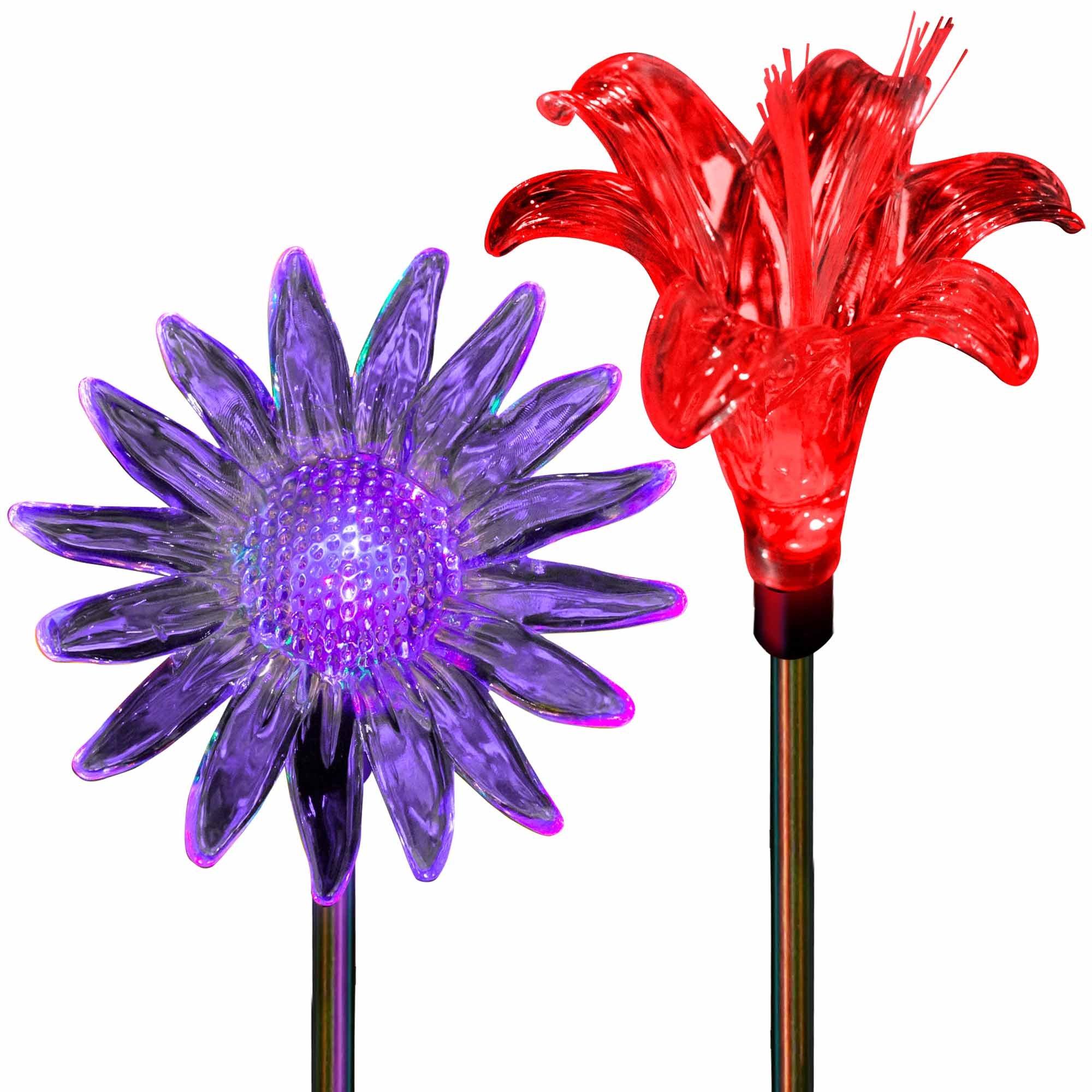 SolarDuke Solar Garden Outdoor Flower Stake Lights Color Changing Sunflower Lily Flower for Garden Patio Decor