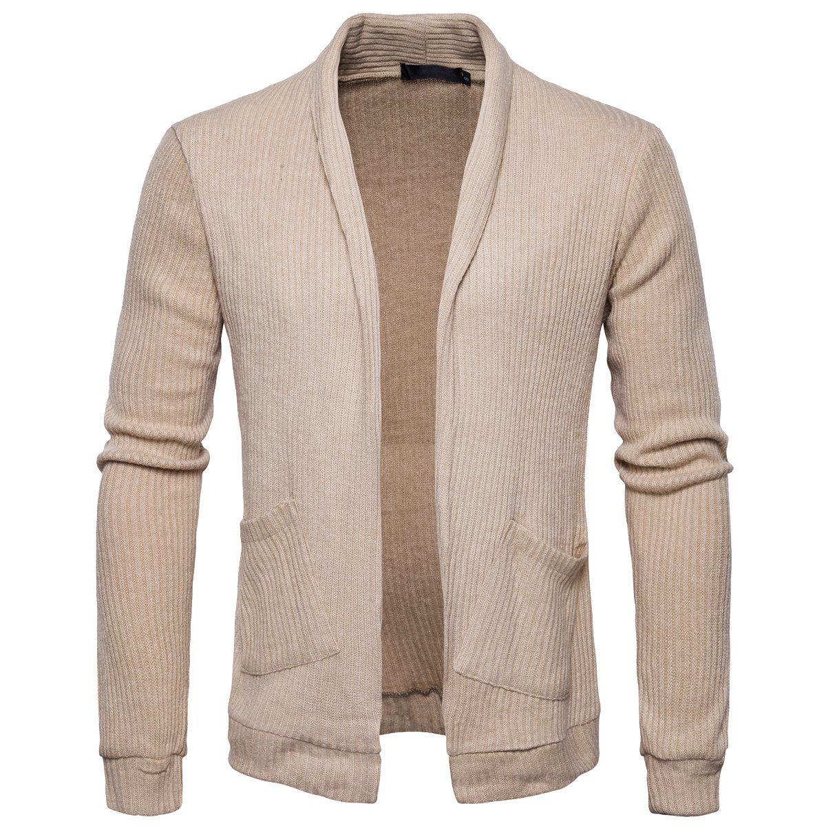 Cottory Men's No Button Pure Color Soft Shawl Collar Cardigan Sweater Brown Large