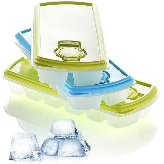 Hausfelder Eiswürfelform Eiswürfelbehälter mit Deckel - 3er Set wiederverwendbar und BPA frei, Kunststoff Behälter mit 12 For