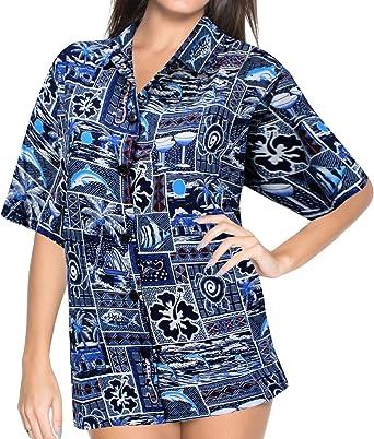 LA LEELA Tropical Impreso Likre Zona de nado Negro Camisa Hawaiana para Las Mujeres