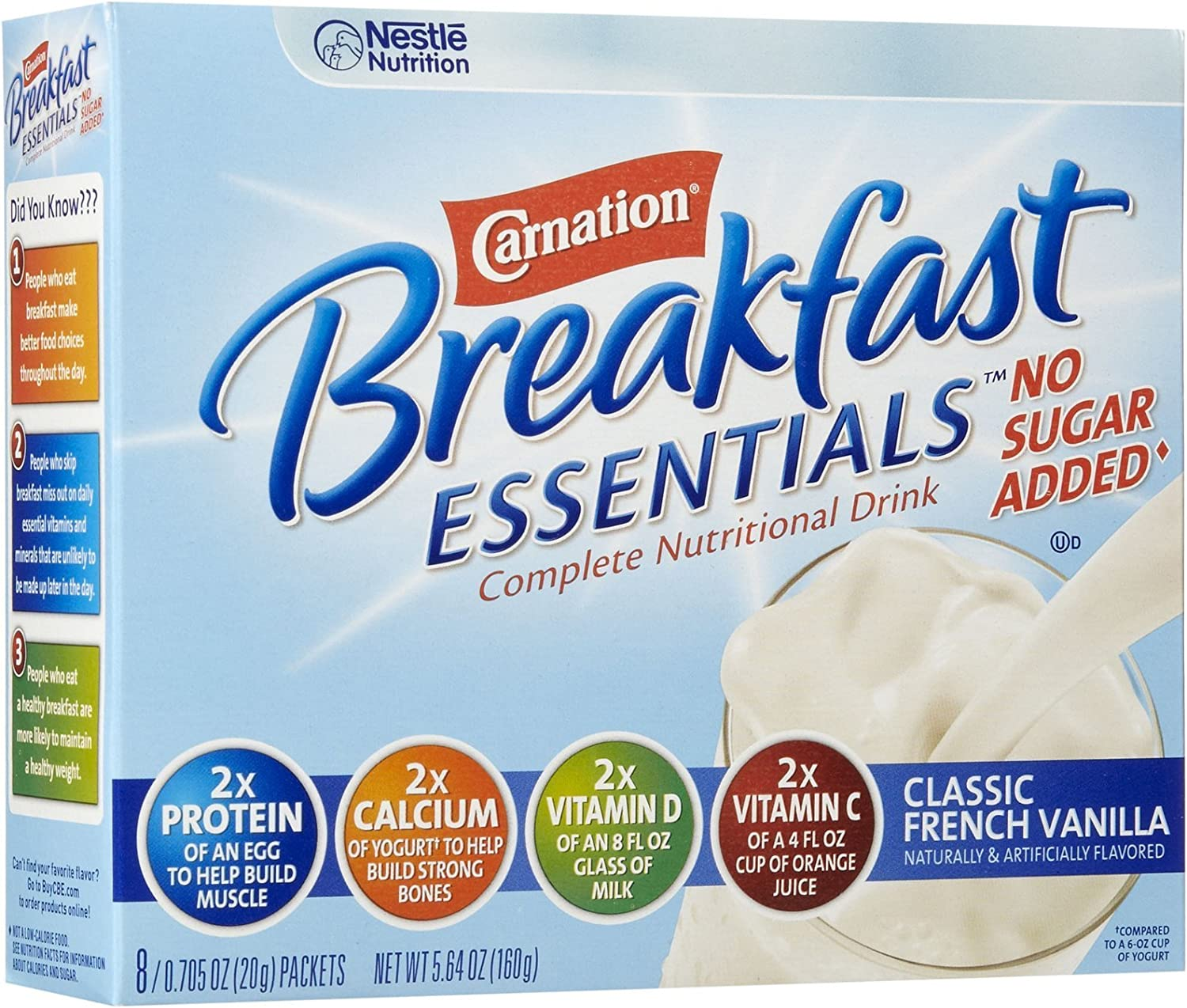 Carnation Breakfast Essentials, No Sugar Added French Vanilla, 0.705 Ounce Packets, 8 Count Box