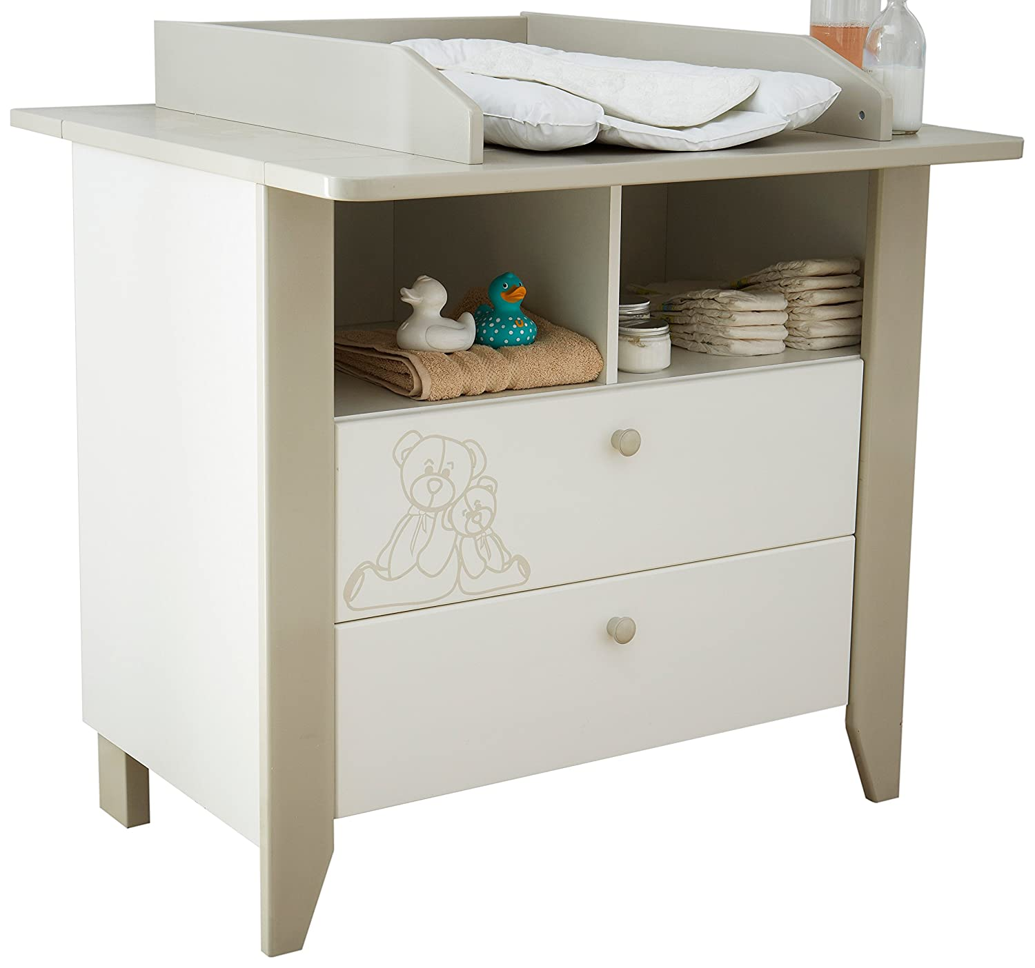 """Demeyere"""" Ourson 2-Drawer 2-Nook Chest with Top Changer, Wood, White, 31x97x88.3 cm 301470"""
