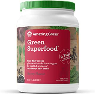 product image for Amazing Grass Green Superfood: Super Greens Powder with Spirulina, Chlorella, Digestive Enzymes & Probiotics, Berry, 100 Servings