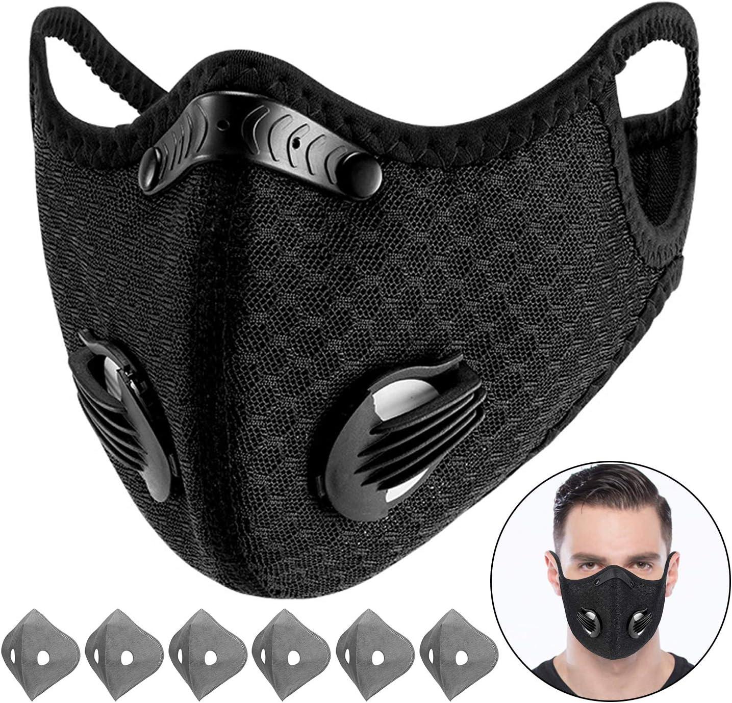 Beautyshow Máscara de polvo para deportes con 3 filtros de carbono reemplazables, máscara de protección contra la contaminación para humos de escape, polen, ciclismo, correr, camping, viajes (negro)