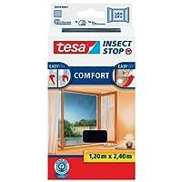 tesa Insect Stop COMFORT Fliegengitter für bodentiefe Fenster - Insektenschutz selbstklebend - Fliegen Netz ohne Bohren - Anthrazit, 120 cm x 240 cm