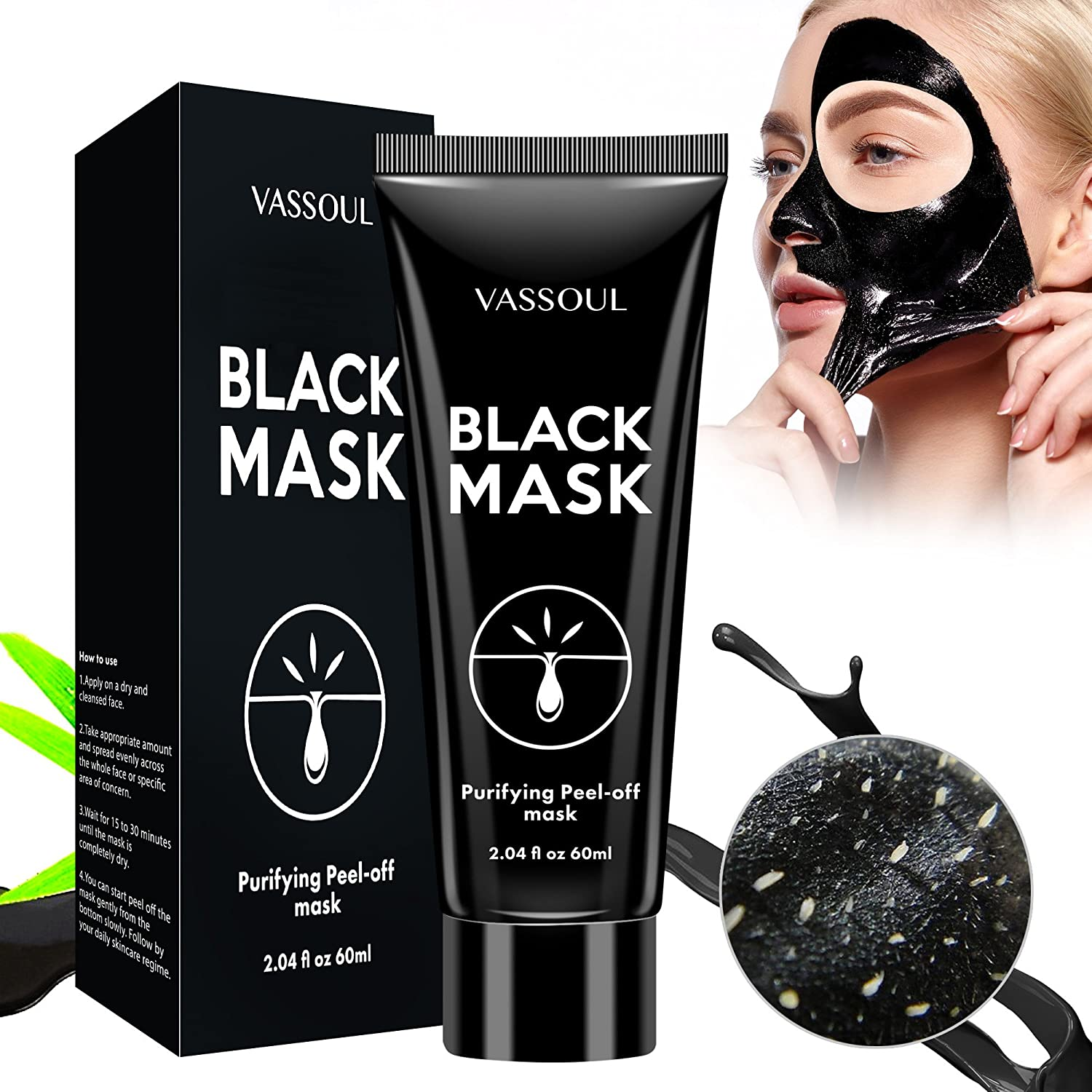 Vassoul Blackhead Remover Mask, Peel Off Blackhead Mask, Blackhead Remover - Deep Cleansing Black Mask, Bamboo Activated Charcoal Peel-Off Mask OBBR