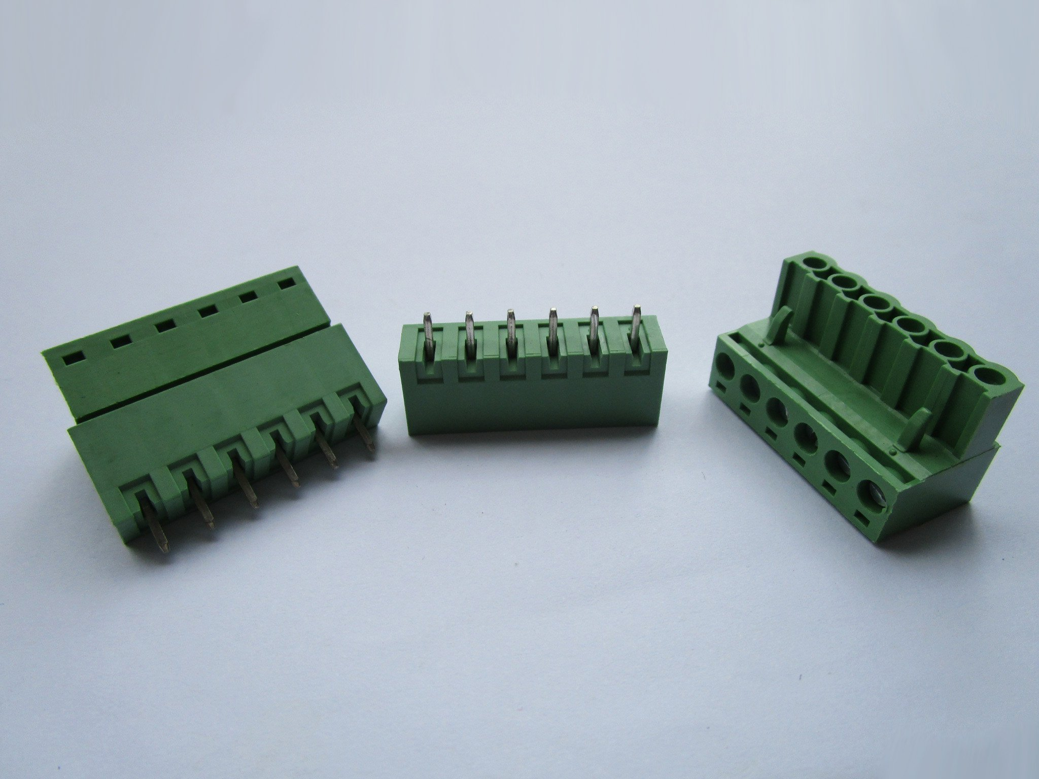 150 Pcs Close Straight 6 Pin/way Pitch 5.08mm Screw Terminal Block Connector Green Color Pluggable Type with Straight Pin