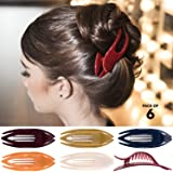 RC ROCHE ORNAMENT 6 Pcs Womens French Concord Curved Hair Clip No Slip Strong Grip Comfortable Hold Girls Ladies Beauty Acces