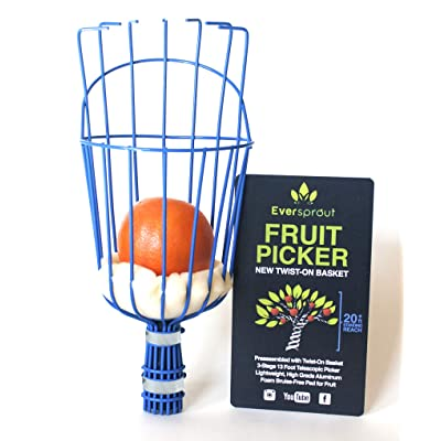 EVERSPROUT Twist-On Fruit Picker Basket | Twists onto Standard US Threaded Pole (3/4-inch ACME) | Fruit Harvester Attachment (Head Only, Pole Not Included): Kitchen & Dining