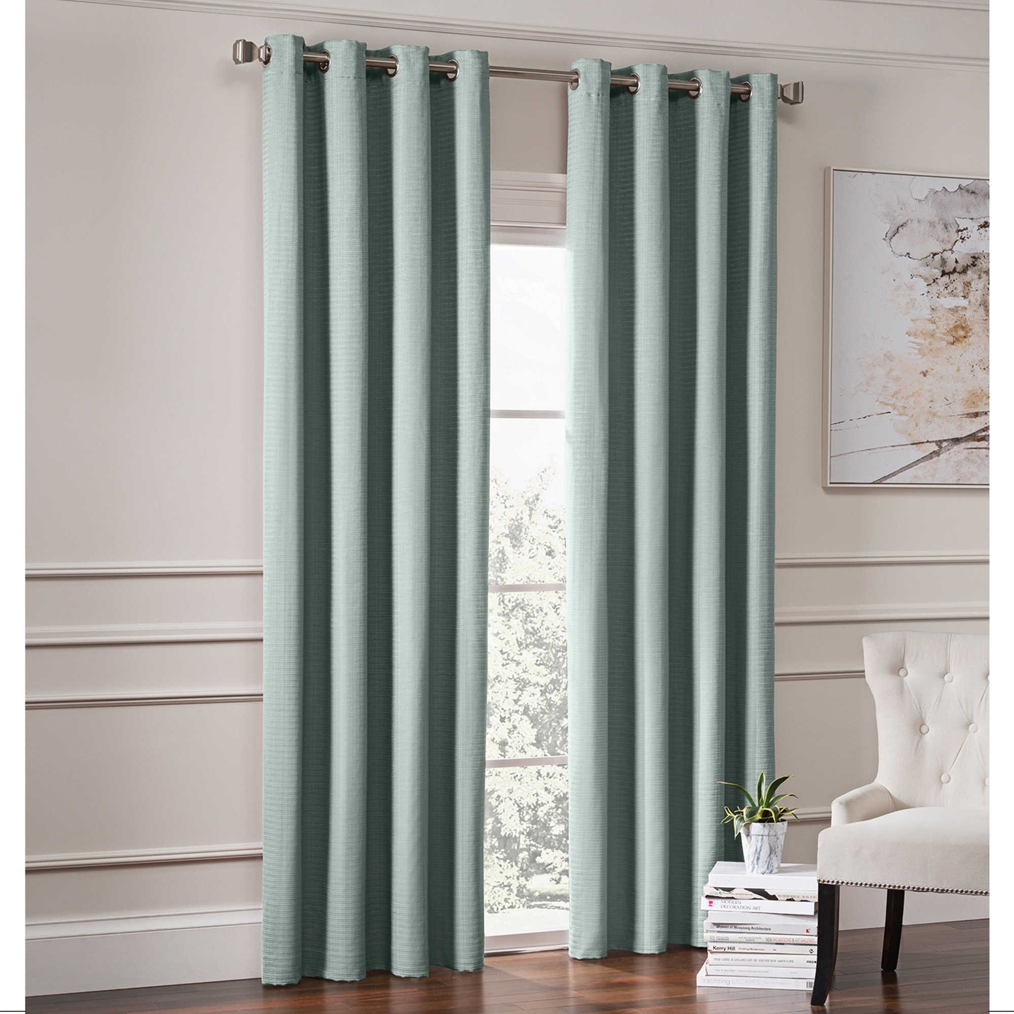 Richloom Home Fashions Garland 84'' L, 1 Lined Grommet Top Room Darkening Curtain Panel - Spa