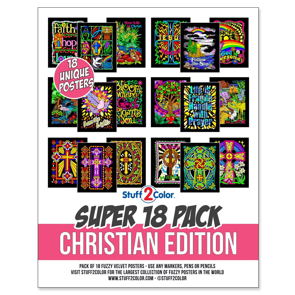 Stuff2Color Super Pack of 18 Fuzzy Velvet Coloring Posters (Christian Edition) by Stuff2Color