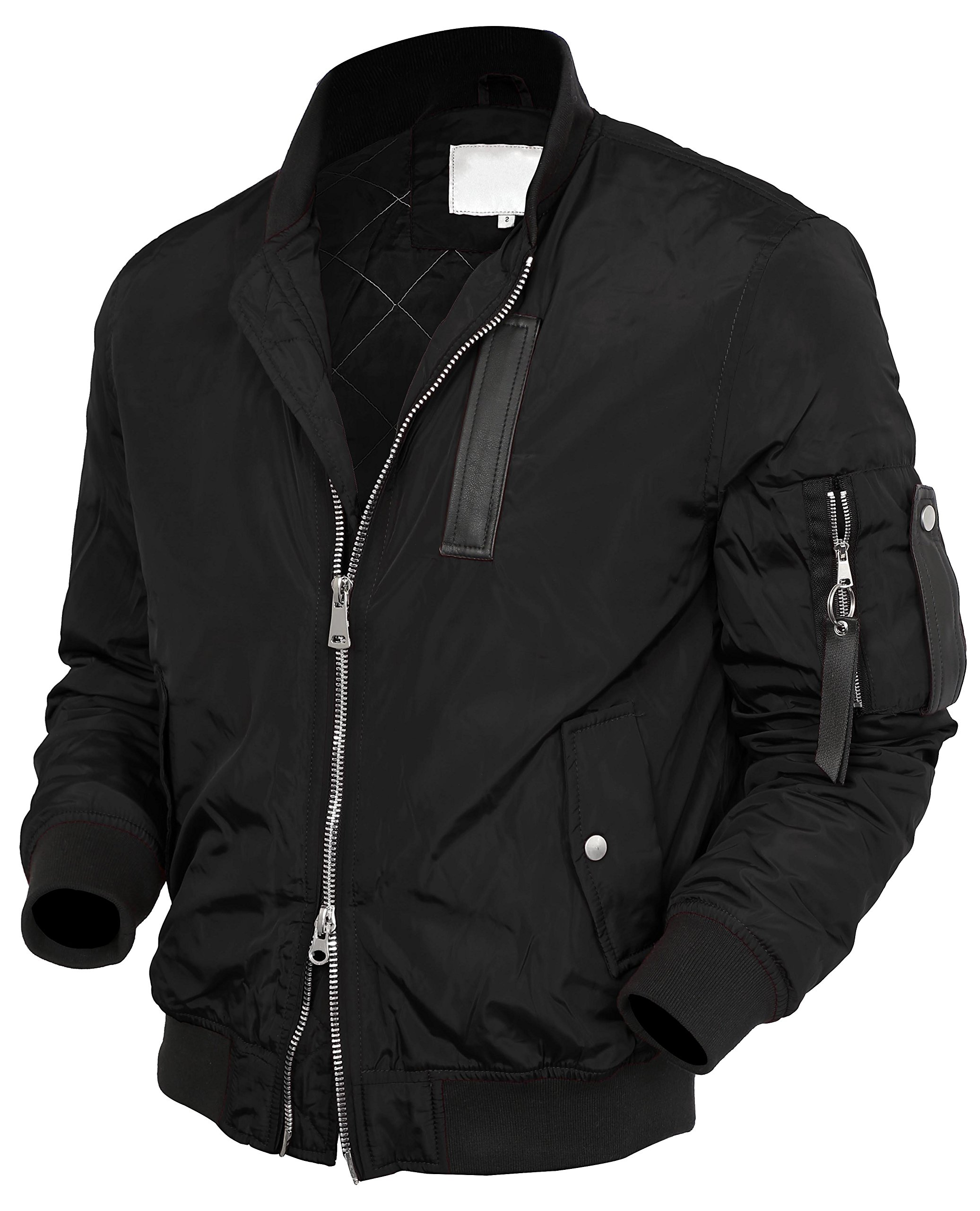 VW Mens Bomber Jacket Active MA-1 Slim Fit Lightweight Windbreaker 6016 (X-Large, 2012 Black)
