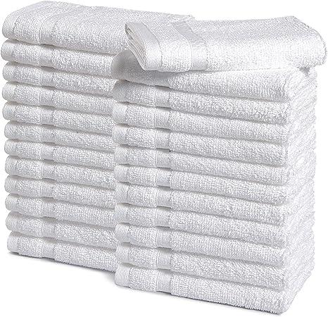 Amazon Com Amazoncommercial Premium 100 Cotton Washcloth Set Pack Of 24 520 Gsm White Home Kitchen