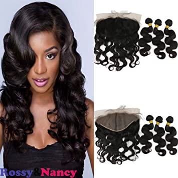 Amazon.com   Rossy Nancy Cheap Remy Hair Lace Frontal Closure with 3 ... f3967d267