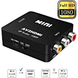 RCA to HDMI, Elizza 1080P Mini RCA Composite CVBS AV to HDMI Video Audio Converter Adapter Support PAL/NTSC with USB Charge Cable for TV/PC/PS3/Blue-Ray DVD,Black