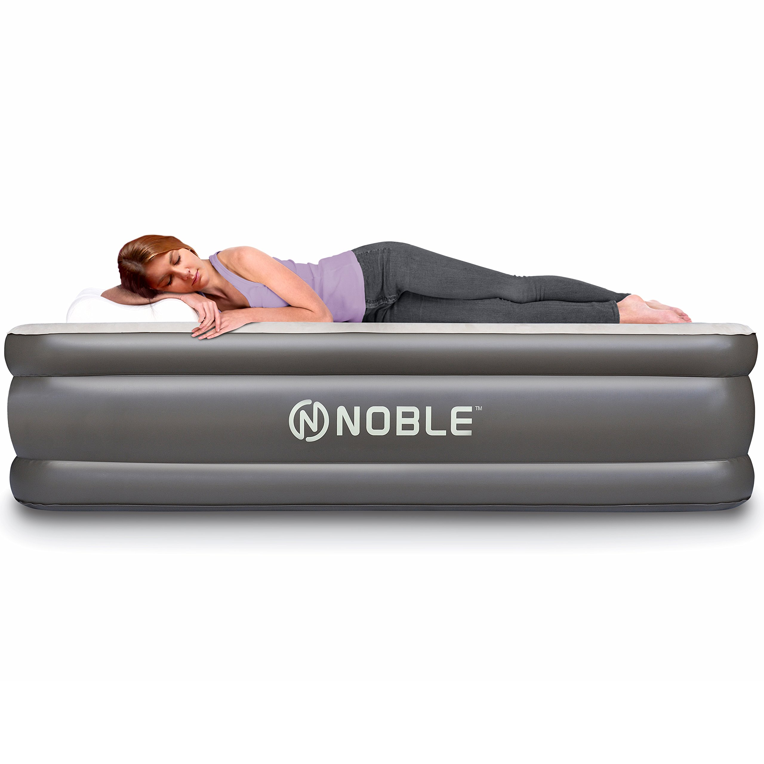 Noble QUEEN SIZE Comfort DOUBLE HIGH Raised Air Mattress - Top Inflatable Airbed with Built-in Pump - Elevated Raised Air Mattress Quilt Top & 1-year GUARANTEE by Noble