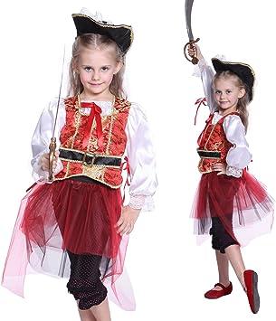 Anladia - Disfraz de pirata para niña Talla S (90-100cm) 5-7 años ...