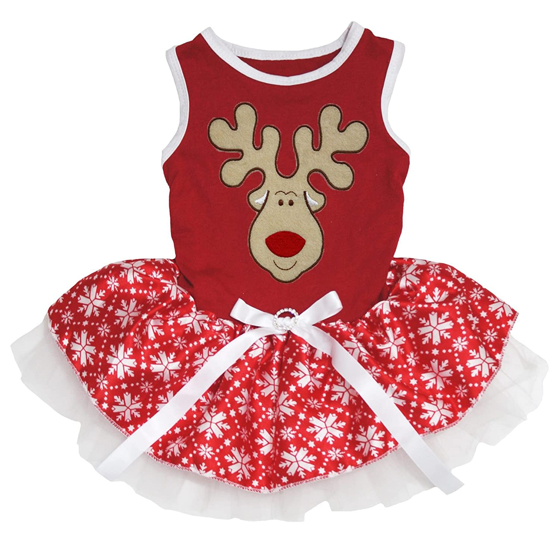 color rojo Pet Fuente de Navidad perro vestido Navidad ciervos copo de nieve tut/ú de algod/ón de reno