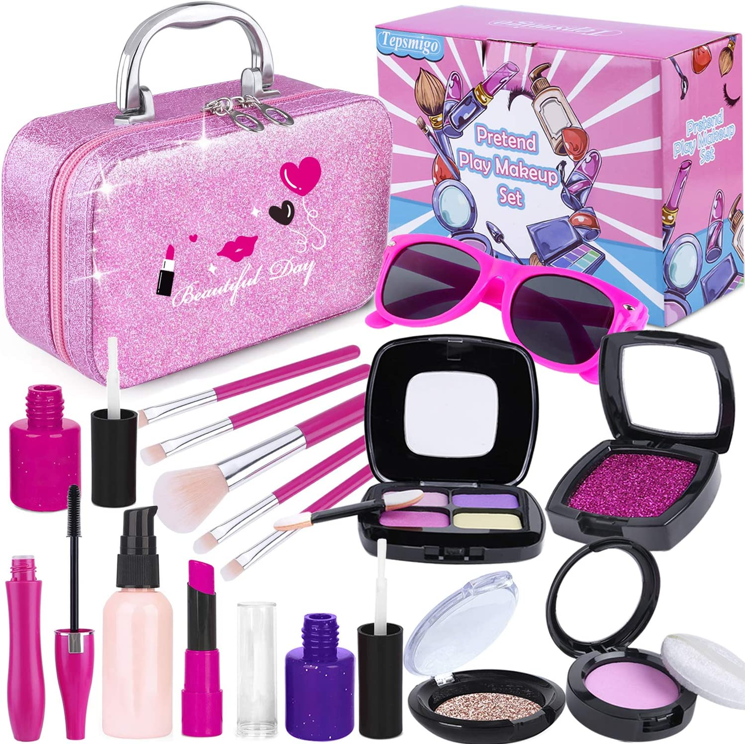 Maquillage Halloween 95.Amazon Com Tepsmigo Pretend Makeup Kit For Girls Kids Makeup Sets With Cosmetic Bag Toddler Princess Pretend Play Toys Birthday Party Halloween For Little Girl Age 2 3 4 5 Not Real Makeup Toys
