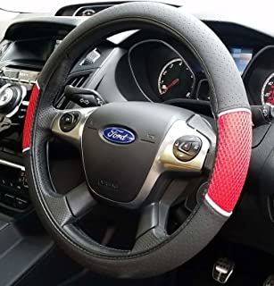 XtremeAuto® XAWQER Leather Steering Wheel Cover Red Black & United Car Parts BLACK-RED-MATS-169 Black + Red Trim Tailored Car ... markmcfarlin.com