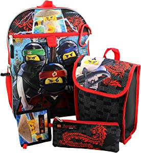 "LEGO LNCF519ZA Ninjago 16"" Backpack 5pc Set with Snack Tote, Wallet, Pencil Case and Carabiner Clip, Black"
