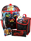 """LEGO LNCF519ZA Ninjago 16"""" Backpack 5pc Set with Snack Tote, Wallet, Pencil Case and Carabiner Clip, Black"""