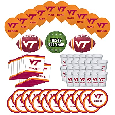 Mayflower Products Virginia Tech Hokies Football Tailgating Party Supplies for 20 Guest and Balloon Bouquet Decorations: Toys & Games