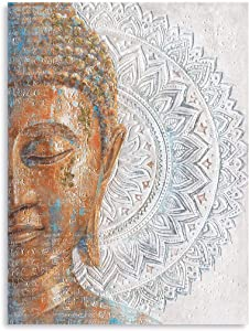 Gold Buddha Canvas Wall Art: 3D Mandala Flower Blossom Buddha Painting with Gold Foil Reproduction Print on Blue Canvas Wrapped and Ready for Hang 24